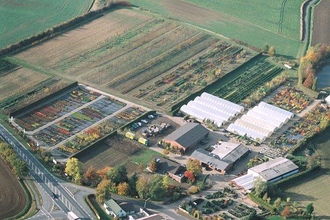 Luftbild der Baumschule Röhler mit angrenzenden Ländereien
